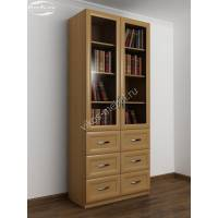 книжный шкаф со стеклянными дверцами с выдвижными ящиками шириной 80-90 см