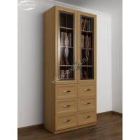 книжный шкаф со стеклянными дверцами шириной 80-90 см цвета бук