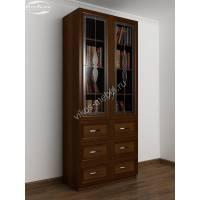 книжный шкаф со стеклянными дверцами шириной 80-90 см цвета яблоня