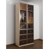 книжный шкаф со стеклянными дверцами шириной 80-90 см цвета беленый дуб - венге