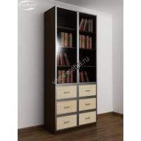 книжный шкаф со стеклянными дверцами шириной 80-90 см цвета венге - молочный дуб