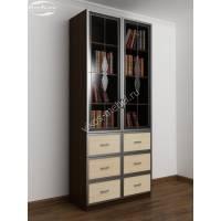 книжный шкаф со стеклянными дверцами с выдвижными ящиками цвета венге - молочный дуб