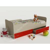 кровать от 3 лет с выдвижными ящиками красного цвета
