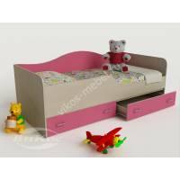 кровать в детскую с ящиками для мелочей розового цвета