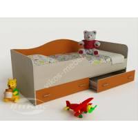 кровать в детскую для девочки оранжевого цвета
