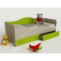 кровать в детскую с ящиками для мелочей цвета зеленый лайм