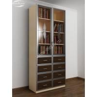 книжный шкаф c витражным стеклом цвета беленый дуб - венге