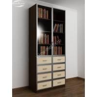 книжный шкаф с ящиками для мелочей цвета венге - молочный дуб