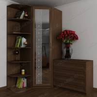 шкаф угловой с распашными дверями с пескоструйным рисунком