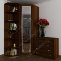 платяной шкаф угловой с пескоструйным зеркалом