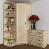 шкаф угловой с распашными дверями цвета молочный беленый дуб