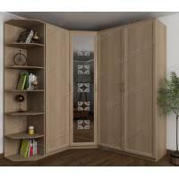 шкаф угловой для спальни с пескоструйным зеркалом