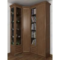 угловой шкаф для книг цвета шимо темный