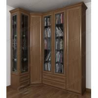 большой угловой шкаф c витражным стеклом