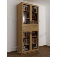 шкаф для книг с пескоструйным зеркалом цвета бук