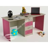 детский письменный стол с ящиками розового цвета