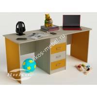 детский письменный стол с ящиками желтого цвета