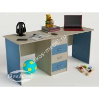 детский письменный стол с ящиками голубого цвета
