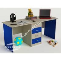 детский письменный стол с ящиками синего цвета