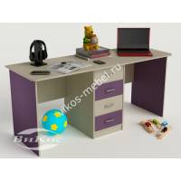 детский письменный стол с ящиками филетового цвета