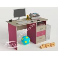письменный стол в детскую с выдвижными ящиками розового цвета