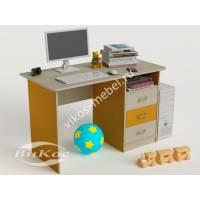 письменный стол в детскую с выдвижными ящиками желтого цвета