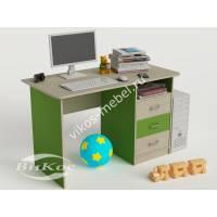 письменный стол в детскую с выдвижными ящиками зеленого цвета