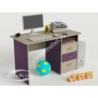 письменный стол в детскую с выдвижными ящиками филетового цвета