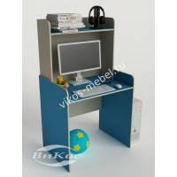 стол для учебы с надстройкой цвета мармара голубой