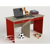 детский письменный стол с ящиками для мелочей красного цвета