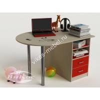 письменный стол в детскую для девочки красного цвета