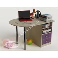 письменный стол в детскую с ящиками филетового цвета