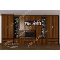 мебельная стенка с вместительным шкафом цвета яблоня