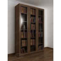 книжный шкаф с витражом цвета шимо темный