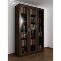 книжный шкаф с витражом цвета венге