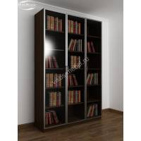 3-створчатый книжный шкаф цвета венге - молочный дуб