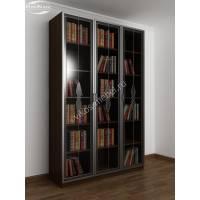 книжный шкаф с витражом цвета венге - молочный дуб