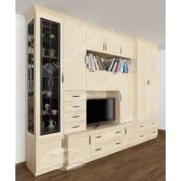 классическая мебельная стенка цвета молочный беленый дуб