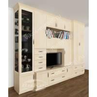 мебельная стенка в гостиную цвета молочный беленый дуб