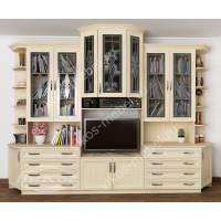 мебельная стенка в кабинет цвета молочный беленый дуб