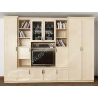 мебельная стенка с вместительным шкафом в классическом стиле