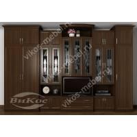 мебельная стенка с вместительным шкафом цвета венге