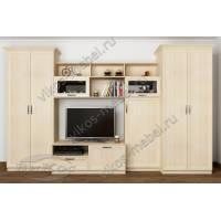 мебельная стенка в классическом стиле цвета молочный беленый дуб