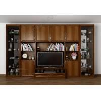 мебельная стенка в классическом стиле цвета яблоня
