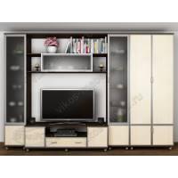 мебельная стенка с вместительным шкафом цвета венге - молочный дуб