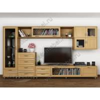 модульная мебельная стенка цвета бук