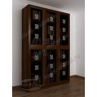 шкаф для книг с пескоструйным рисунком цвета яблоня