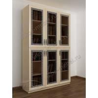 шкаф для книг с пескоструйным зеркалом цвета молочный беленый дуб