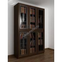 витражный шкаф для книг цвета венге