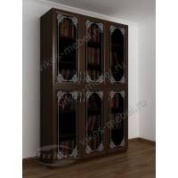 3-дверный шкаф для книг с пескоструйным зеркалом